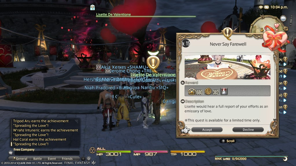 Final Fantasy XIV Valentione's Event Tutorial + Impressions | Chic Pixel