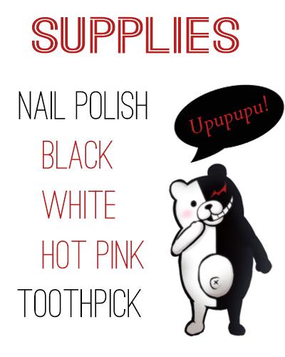 Super Easy Danganronpa Nail Tutorial Supplies
