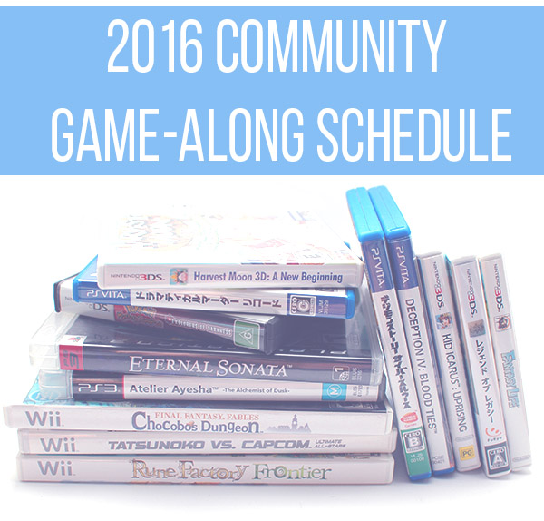 2016 Community Game-Along Schedule