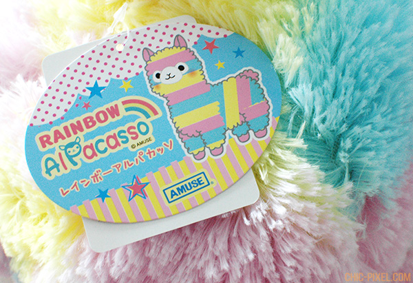 Rainbow Alpacasso Amuse plush review tag closeup