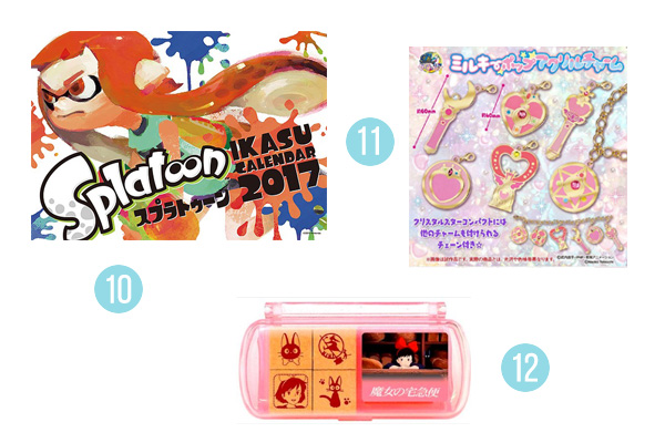 Chic Pixel's 2017 Holiday Gift Guide Splatoon calendar, Sailor Moon charms, Kiki stamp