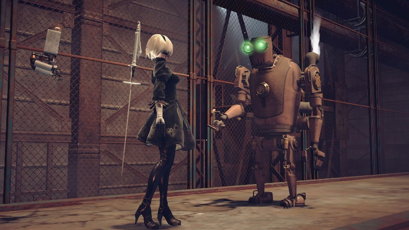 NieR: Automata review Chic Pixel 2B and Pascal screenshot