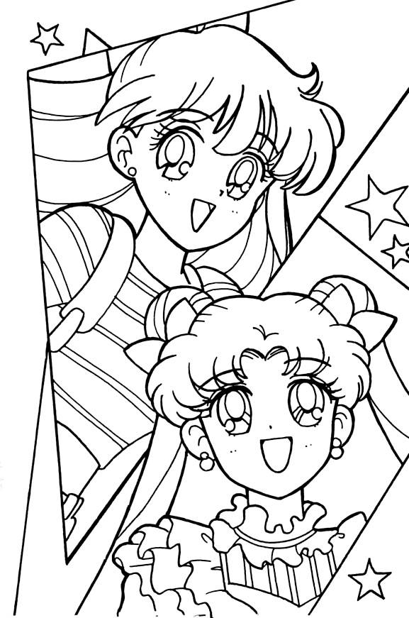 Sailor Moon Sailor Stars coloring book Usagi and Mina casual clothes